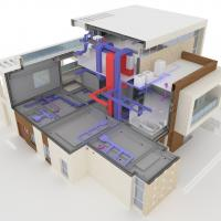 Heating and cooling system render
